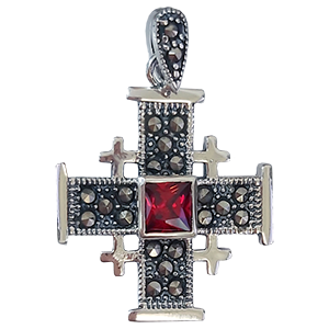Small Silver Jerusalem Cross with Red Stone