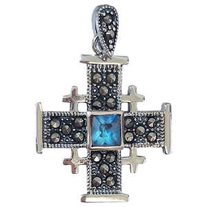 Small Sterling Silver Jerusalem Cross with Light Blue Stone