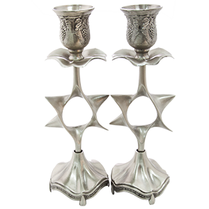 Pewter Plated Star of David Candlesticks