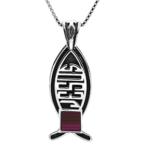 Nano Bible Necklace Silver Jesus Fish