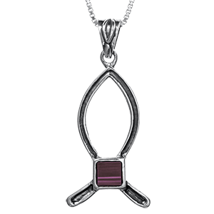 Nano Bible Necklace Silver Simple Ichthys