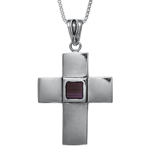 Nano Bible Necklace 2-Sided Silver Smooth and Textured Cross