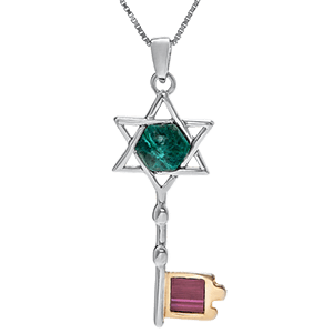 Nano Bible Necklace Silver and 9kt Gold with Eilat Stone Key