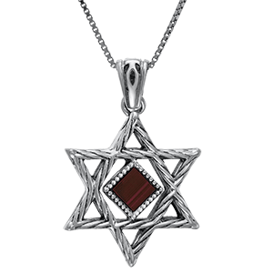 Nano Bible Necklace Silver Rope Star of David