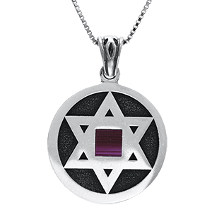 Nano Bible Necklace Silver Star of David Medallion