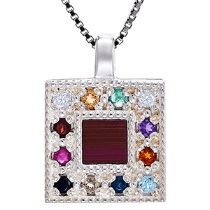 Nano Bible Necklace Silver Hoshen Breastplate with Gemstones