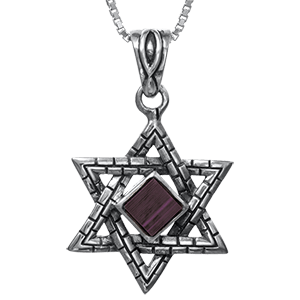 Nano Bible Necklace Silver Western Wall Star of David